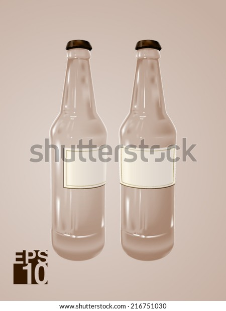 Eps 10 Clear Beer Glass Bottles Stock Vector (Royalty Free) 216751030