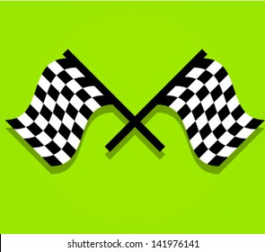 Eps 10 Crossed Racing flags on nice green backdrop