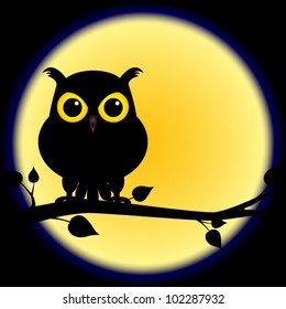 EPS 10: Dark shadow silhouette of an owl with yellow eyes, perched on branch on a night with full moon, perfect for halloween.