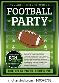 An EPS 10 flyer design perfect for tailgate parties, football invites, etc. File contains transparencies. Text elements are layered for easy removal and customizing of your copy.