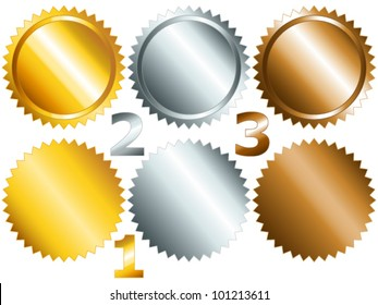 EPS 10: Gold, silver and bronze games related set of rosette medal or label with related numbers in metallic colors