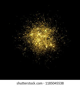 Eps 10 golden glitter splash isolated on black background