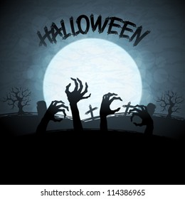 EPS 10 Halloween background with zombies and the moon.