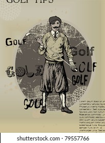 EPS 10, Old newspaper with an illustration of golfing man
