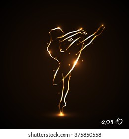 Eps 10. Silhouette of ballerina, dancers in movement on pointe and tutu. Drawn by hand with a tracings of golden color with light on a black background. Both arms and a leg lifted up. Vector. Icon.