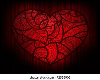 eps 10, vector background with heart doodle ornament