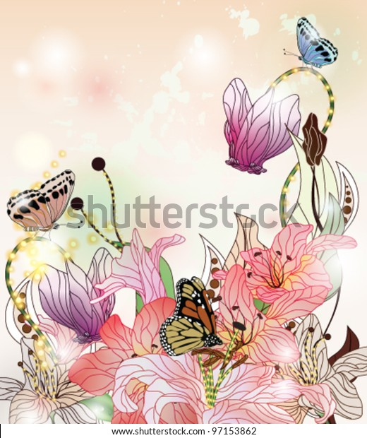 Eps 10 vector - enchanted garden background with different kins of flowers, butterflies and space for text