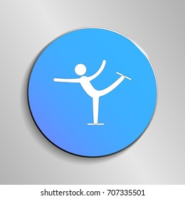 eps 10 vector Figure Skating sport icon. Winter activity pictogram for web, print, mobile. White athlete sign isolated on blue button. Hand drawn competition symbol. Graphic design clip art element
