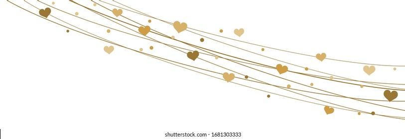 EPS 10 vector file showing hearts on strings background for valentine's day time colored gold for mother's day and love concepts
