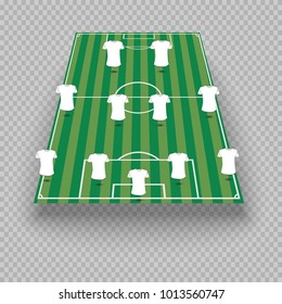 eps 10 vector football team game position illustration. Play-field formation shift. Create your own team formation. Changeable t-shirt color. Sport game editable tactics. Graphic clip art design
