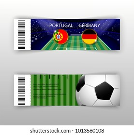 eps 10 vector football ticket layout template set with barcode. Front, back flyer side isolated on gray. Russia football cup 2018 editable promotion material for web, print. Soccer world sport event