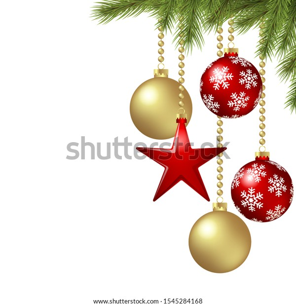 EPS 10 vector hanging christmas baubles background concept with fir branches, red hanging star and free space for text