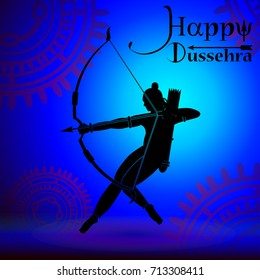 eps 10 vector Happy Dussehra illustration. Silhouette of God Rama holing bow and arrow isolated on abstract background. Vijayadasami or Dasara Hindu festival promotional poster for web, print, design