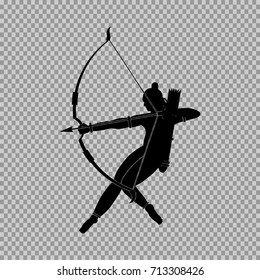 eps 10 vector Happy Dussehra illustration. Silhouette of God Rama holing bow and arrow isolated on transparent background. Vijayadasami or Dasara Hindu festival promotional logo sign for web, print