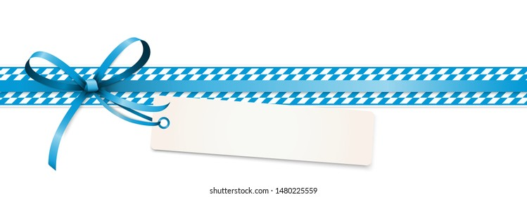 EPS 10 vector illustration of blue colored ribbon bow with hang tag and free text space isolated on white background for German Oktoberfest time 2019 2020