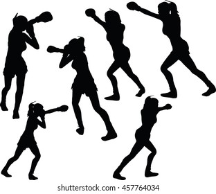 EPS 10 vector illustration of boxer woman silhouette in black