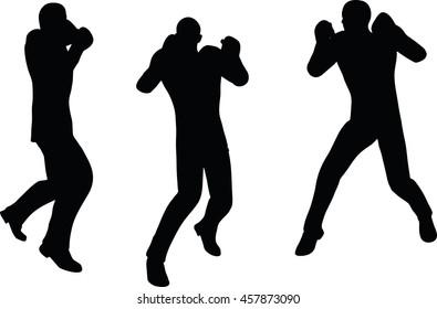 EPS 10 vector illustration of boxer businessman silhouette in black