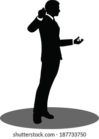 EPS 10 Vector illustration of business people meeting standing silhouette