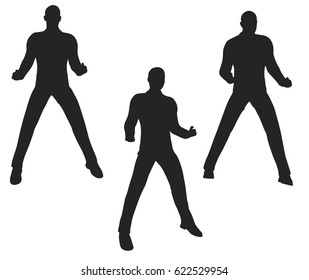 EPS 10 vector illustration of businessman silhouette in super power pose on white background