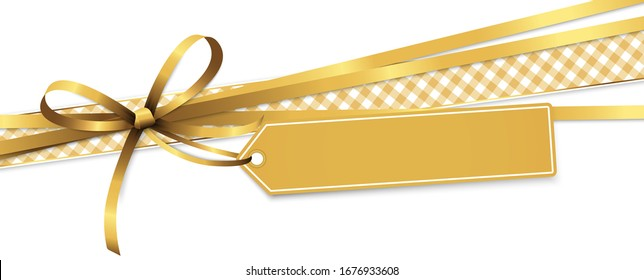 EPS 10 vector illustration of gold colored ribbon bow and gift band with pendant isolated on white background