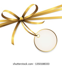 EPS 10 vector illustration of golden colored ribbon bow with hang tag and free text space isolated on white background