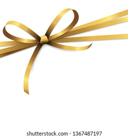 EPS 10 vector illustration of golden colored ribbon bow isolated on white background
