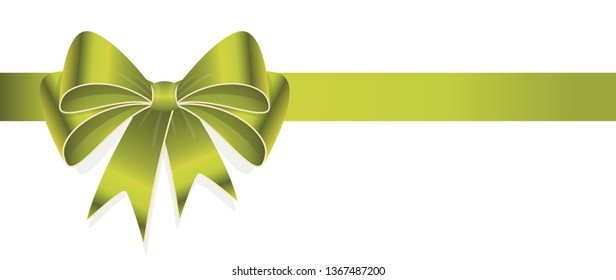 EPS 10 vector illustration of green colored ribbon bow isolated on white background