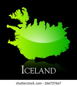 EPS 10 Vector illustration of Iceland green shiny map. Used transparency.