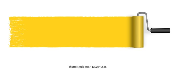 EPS 10 vector illustration isolated on white background with paint roller and painted marking colored yellow
