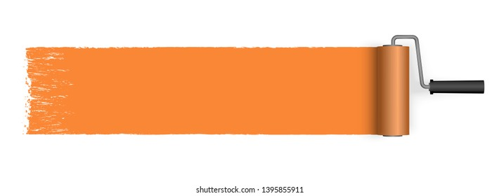 EPS 10 vector illustration isolated on white background with paint roller and painted marking colored orange