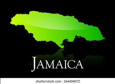 EPS 10 Vector illustration of Jamaica green shiny map. Used transparency.