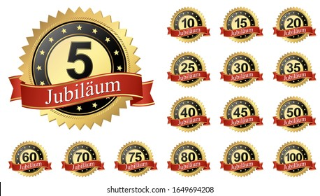 eps 10 vector illustration of Jubilee button with banners collection 5 to 100 years (german text)