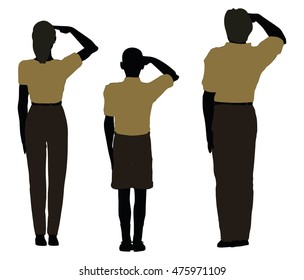 EPS 10 vector illustration of man, woman and a child silhouette in Military Salute pose
