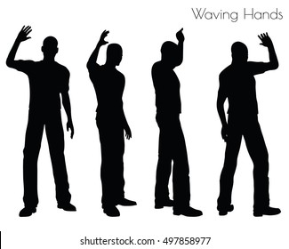 EPS 10 vector illustration of a man in Waving Hands pose on white background