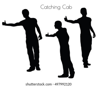 EPS 10 vector illustration of a man in Action Catching Cab  pose on white background