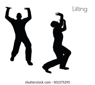 EPS 10 vector illustration of man in  Lifting  Action pose on white background