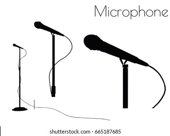EPS 10 vector illustration of microphone silhouette on white background