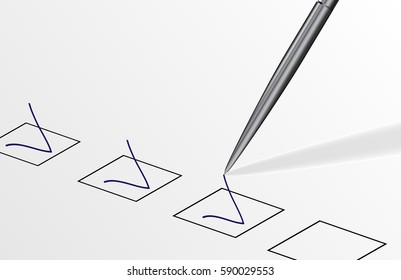 eps 10 vector illustration of pen drawing check marks. Check list. Business concept. Make a choice, select correct answer. Study examination test. Elections list. Graphic clip art illustration