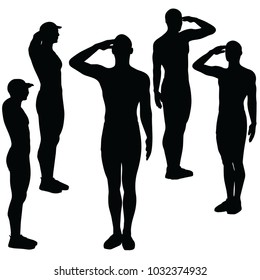 EPS 10 Vector Illustration of A Person Silhouette In Saluting Pose On White Background