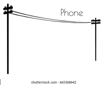 EPS 10 vector illustration of Phone line silhouette on white background