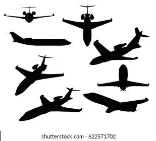 EPS 10 vector illustration of  Private Jet on white background