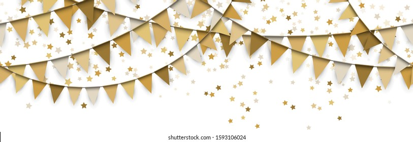 EPS 10 vector illustration of seamless gold colored garlands and confetti of stars on white background for sylvester party or carnival template usage
