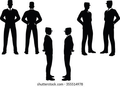 EPS 10 Vector illustration in silhouette of businessman at ease