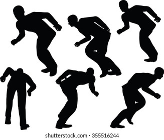 EPS 10 Vector illustration in silhouette of businessman run with lean