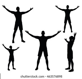 EPS 10 vector illustration of soccer player in victory pose silhouette in black