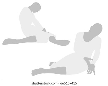 EPS 10 vector illustration of woman silhouette in Slumped to the Left Pose