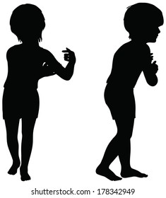 EPS 10 Vector. Kids Silhouettes in position of Clinging isolated on white.