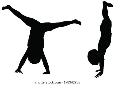 EPS 10 Vector. Kids Silhouettes in position of Cartwheel isolated on white.