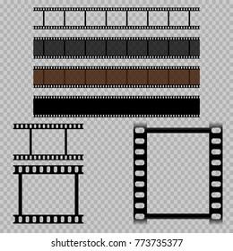eps 10 vector old vintage film isolated on transparent background. Blank 35mm filmstrip negative. Blank photoframes set. Graphic templates for web, print, design. Clip art illustration mock-ups