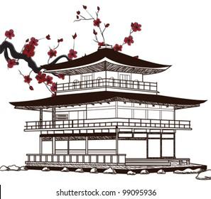 Eps 10 vector - oriental pavilion - sketch